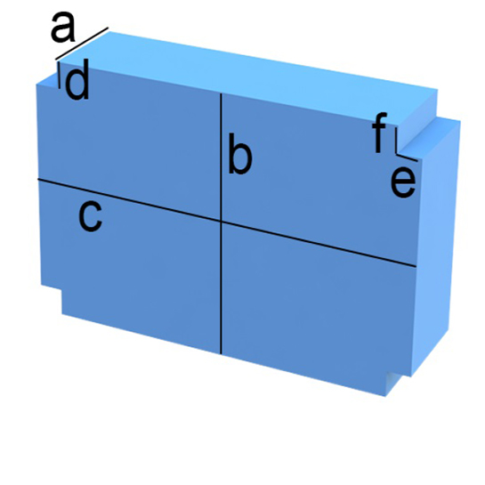 Bezug nach Maß Rechteck mit vier Eckenabschnitten