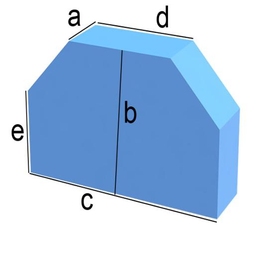 Bezug nach Maß Rechteck mit zwei Schraegabschnitten